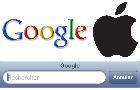 Logos de Google et d'Apple et moteur de recherche sous iOS