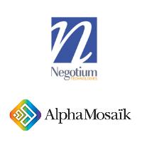 Logos de Negotium et d'AlphaMosaïk