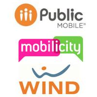 Logos de Public Mobile, Mobilicity et Wind Mobile