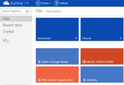 Capture d'écran de SkyDrive