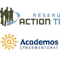 Logos du Réseau Action TI et d'Academos Cybermentorat