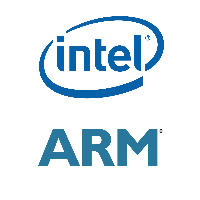 Logos d'Intel et ARM Holdings