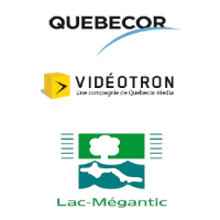 Logos de Québecor, Vidéotron et Lac-Mégantic