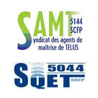 Logos des syndicats d'employés de TELUS SAMT et SQET