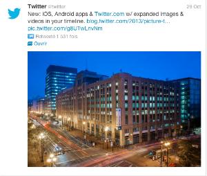 Exemple d'un affichage d'image dans un fil de Twitter