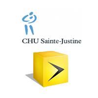 Logos de CHU Sainte-Justine et Vidéotron