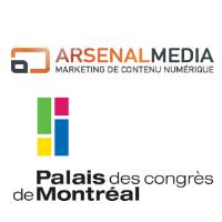 Logos d'Arsenal Média et du Palais des Congrès de Montréal
