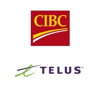 Logos de la Banque CIBC et de TELUS