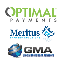 Logos de Paiement Optimal, Meritus et Global Merchant Advisors