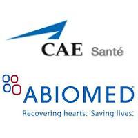 Logos de CAE Santé et Abiomed