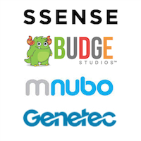Logos de SSENSE, Budge Studios, Mnubo et Genetec