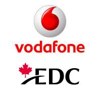 Logos de Vodafone et EDC (Exportation et développement Canada)