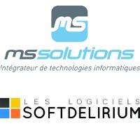 Logos de MS Solutions et de Logiciels SoftDelirium
