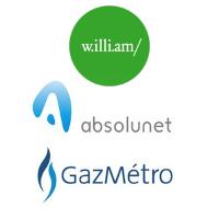 Logos de w.illi.am, Absolunet et Gaz Métro